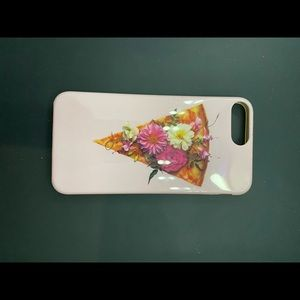 iPhone 8 silicone case pink pizza graphic floral